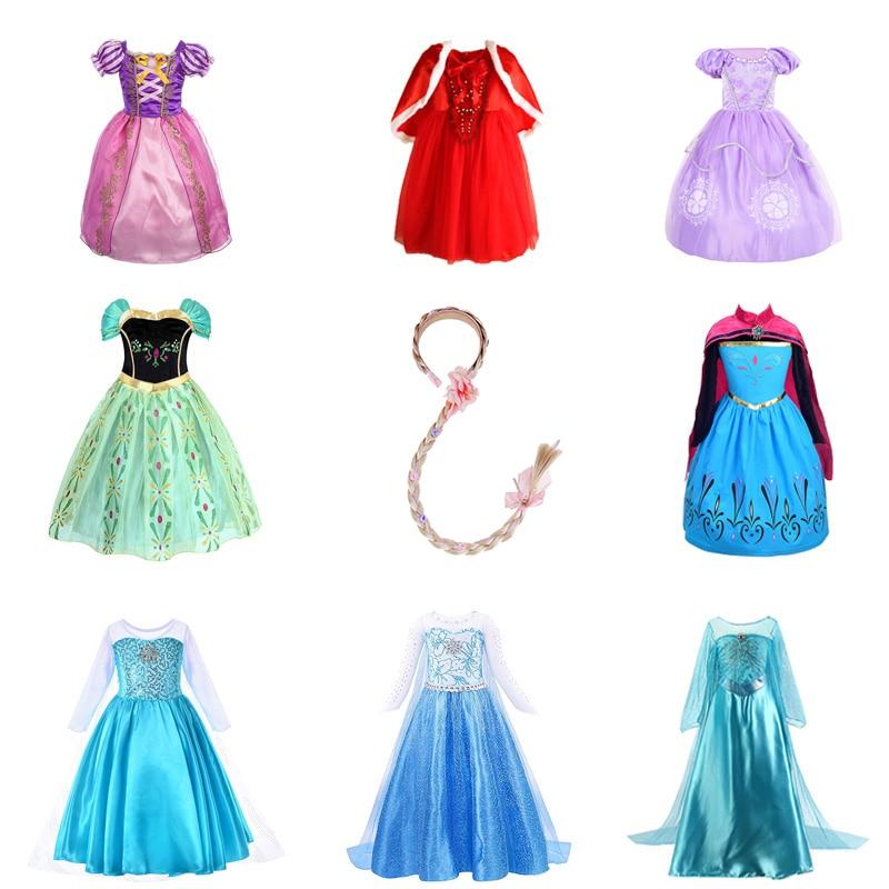 Kids Girl Princess Anna Queen Elsa Cinderella Sofia Halloween Party Dress 2-9T