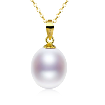 Pure 18K Yellow Gold Necklace Pendant Jewelry Pearl Jewelry