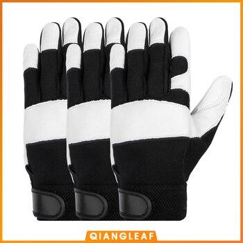 QIANGLEAF 3pcs Winter Anti Impact Safety Working Gloves Sheepskin Thickening Winter Warm Leather Men's Shockproof Gloves 5600