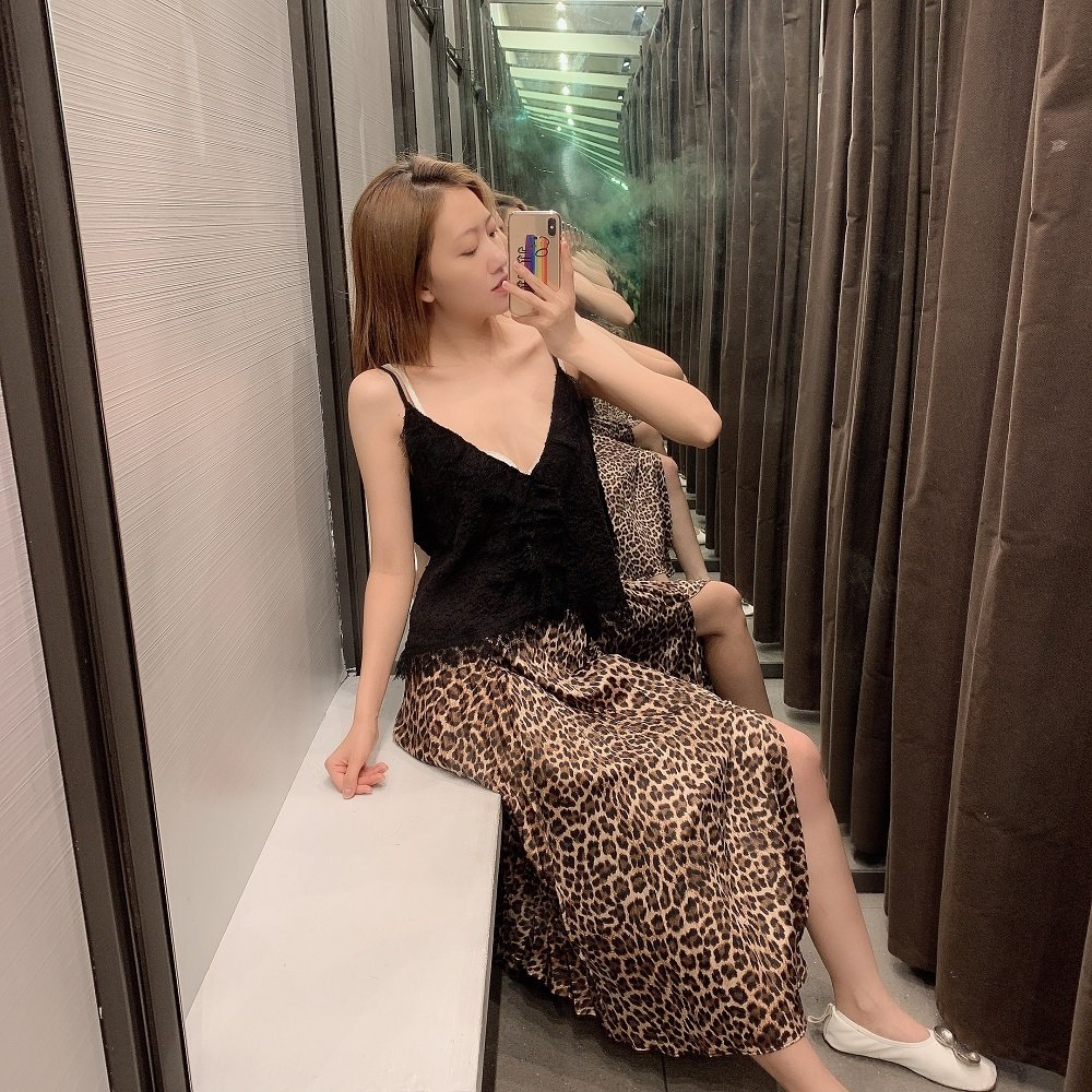 Western Style 2019 Summer New Style High-waisted Slimming Leopord Pattern Printed Slit Skirt Pleated Skirt WOMEN'S Dress