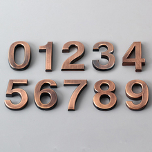 Бронзовый цифровой 0-9 отель клей покрытие Цифровой Металлический здание дверь адрес номер пола номер отеля наклейка табличка знак
