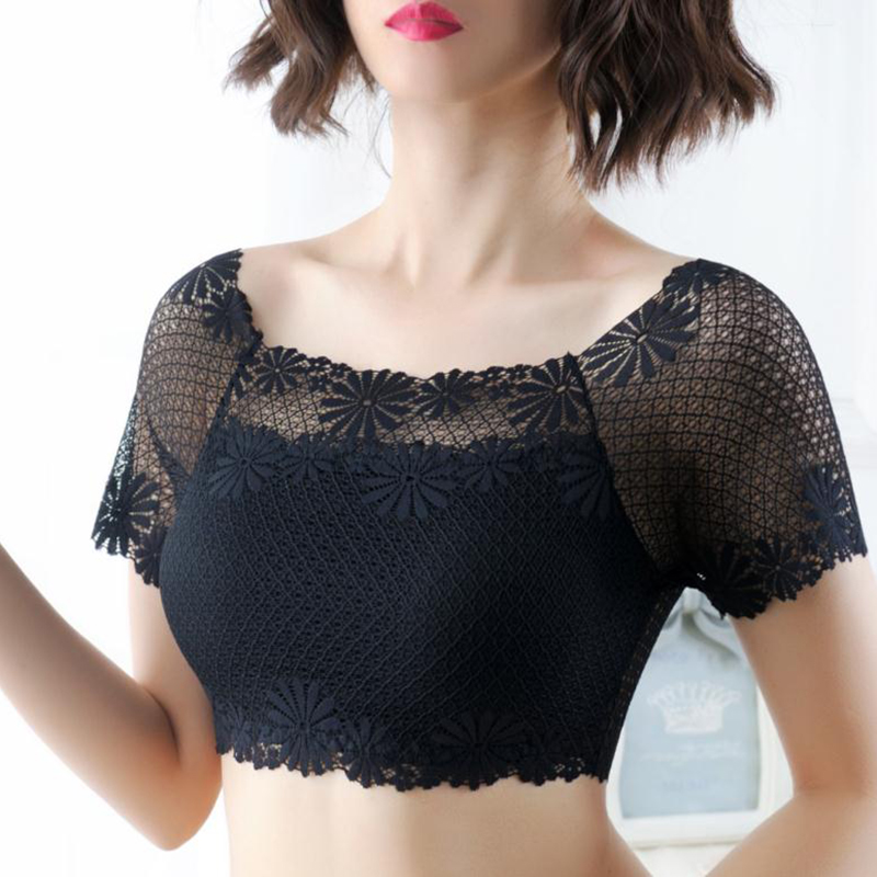 Hot Women Sexy Lace Off Shoulder Crop Tops With <font><b>Bra</b></font> <font><b>Pads</b></font> Short Sleeve Harajuku Bare Shoulder Crochet Top Female Cotton T-<font><b>Shirt</b></font> image