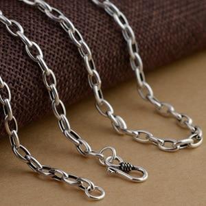 Image 5 - Collier en argent Sterling 925, chaîne à maillons plats, épaisseur de 4mm, cercle croisé, chaîne