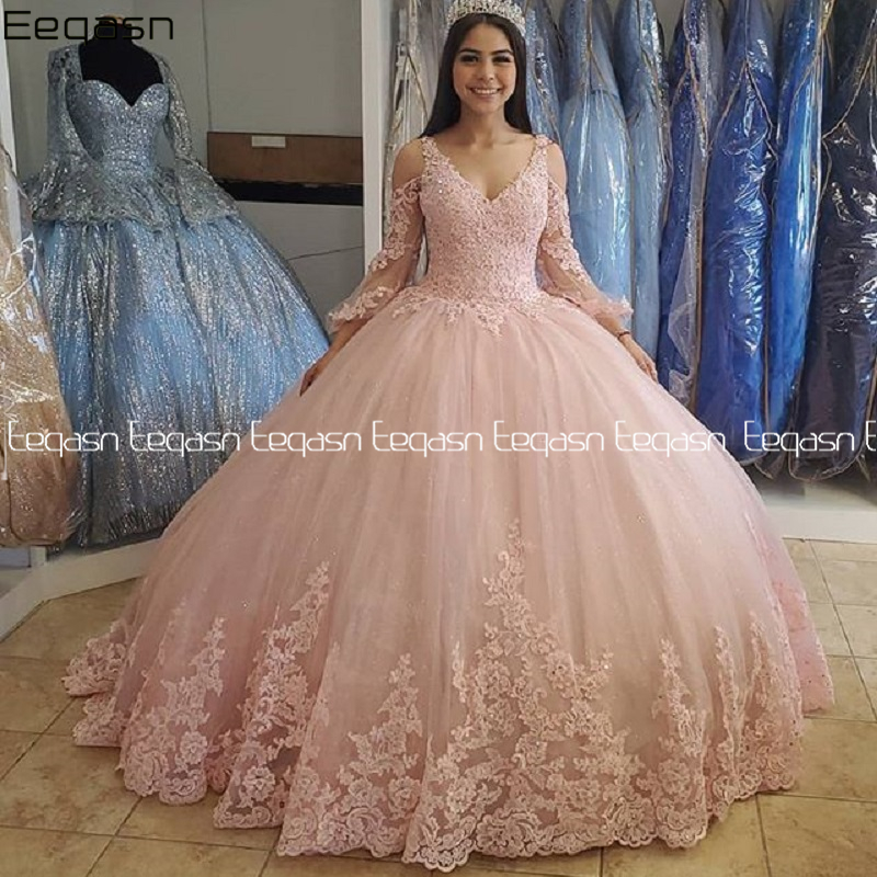 2020 New Lace Quinceanera Dresses Ball Gown Lace Up Sweet 16 Dress For 15 Years Formal Prom Party Pageant Gown Custom