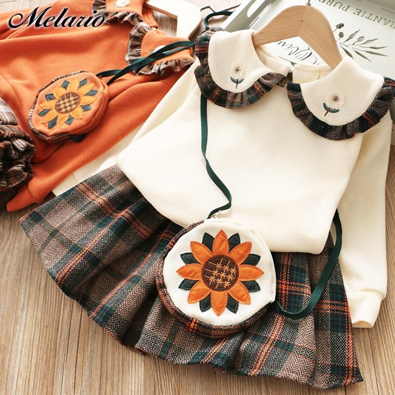 Melario Winter Autumn Girl Dresses Plaid Children Clothes Kids Dresses For Girls Party Dress Knitted Sweater Girl Dress