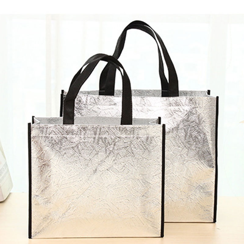 Women Foldable Shopping Bag Reusable Eco Large Unisex Laser Non-woven Shoulder Bags Tote Grocery Cloth Bags Pouch