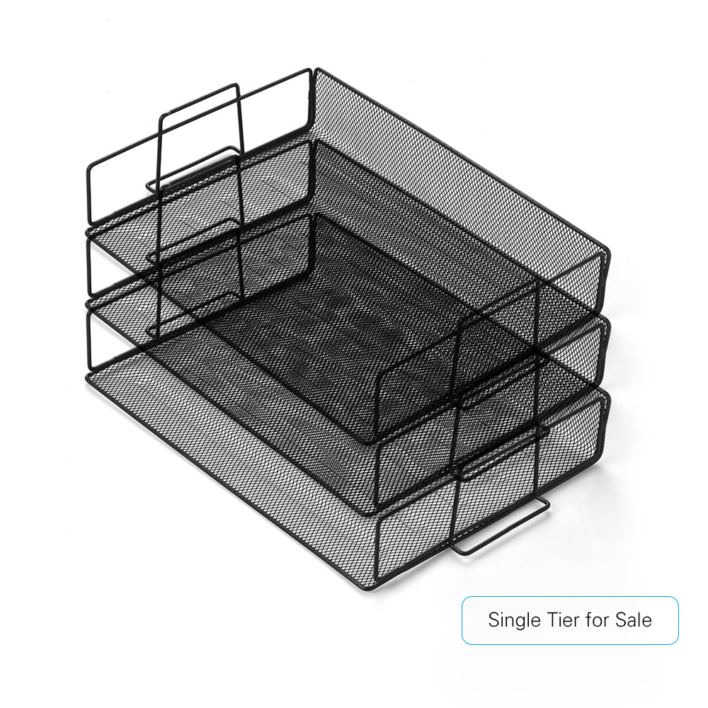 Stackable Desk File Document Letter Tray Organizer Mesh Collection Storage Organize Paper And File Folders For Home Office