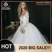 ארוך שרוול כדור שמלת חתונת שמלה מתוקה אפליקציות אשליה תחרת משפט רכבת SWANSKIRT כלה שמלת Vestido דה novia HZ01