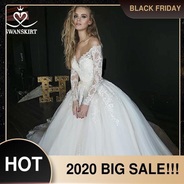 Vestido de novia de manga larga, encantador, ilusión de apliques, corte de encaje, tren, SWANSKIRT, HZ01