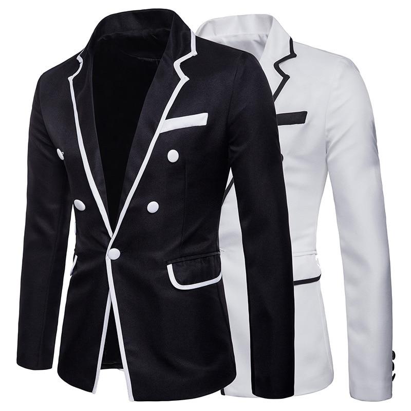 Classical Black Men's Party Formal White Button Slim Fit Suit Coats Casual Fashion Men Banquet Dinner Blazer Jacket Man Talicoat