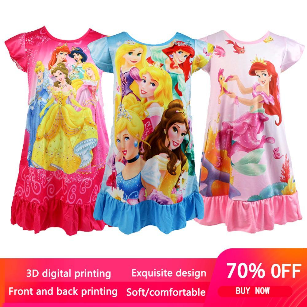 Летнее Ночное платье принцессы; Детская домашняя одежда; Пижама с рисунком русалки; Белоснежка; Ночная рубашка; Одежда для сна для девочек