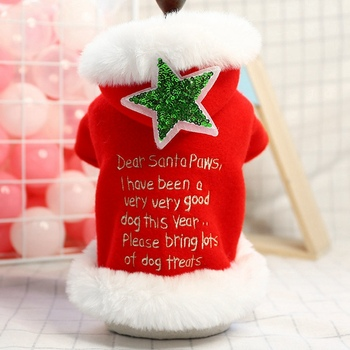 Abrigo rojo cálido con capucha para mascota, chaqueta con cierre de botón a presión, disfraz para Navidad, ropa de decoración para Festival de perros