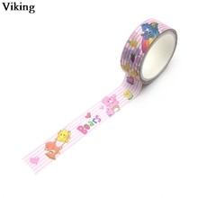 15mmX5m Cute Care Bears Washi Tape DIY Masking Tape Adhesive Tapes Stickers Decorative Stationery Tapes G0109 jianwu 1pc 15mmx5m black