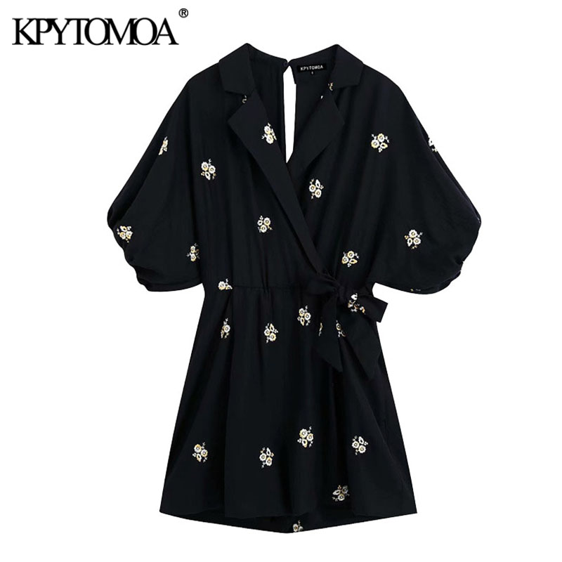 KPYTOMOA Women 2020 Chic Fashion Floral Embroidery Playsuits Vintage Crossover V Neck Puff Sleeves Female Short Jumpsuits Mujer