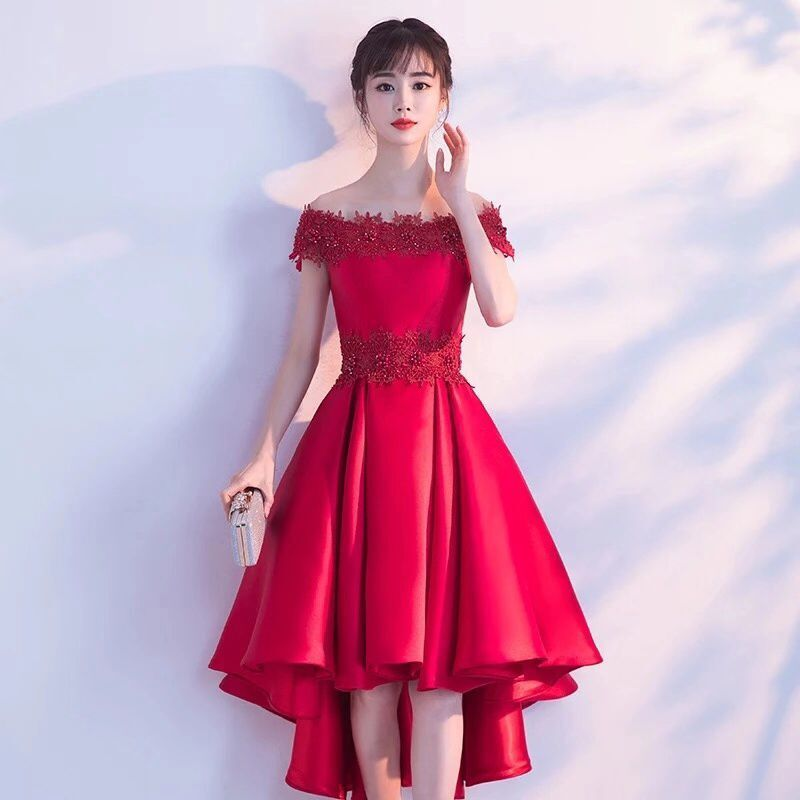 8320 Bride Dress For Toast Autumn Summer Off-Shoulder Sexy Red Front Short Long Back Marriage Evening Dress Women's