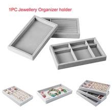 212*125*25 mm Jewelry Display Holder Fabric Jewelry Box Bracelet Ring Earring Button Pendant Tray Case Jewelry Storage Organizer
