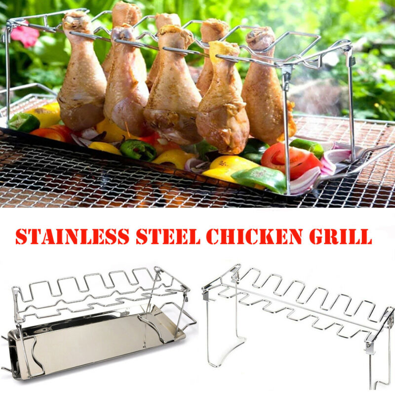 14 Slots BBQ Holder Duck Chicken Leg Wing Grill Cooking Rack With Drip Pan Poultry Roaster Chicken Wing Rack Stainless Steel image