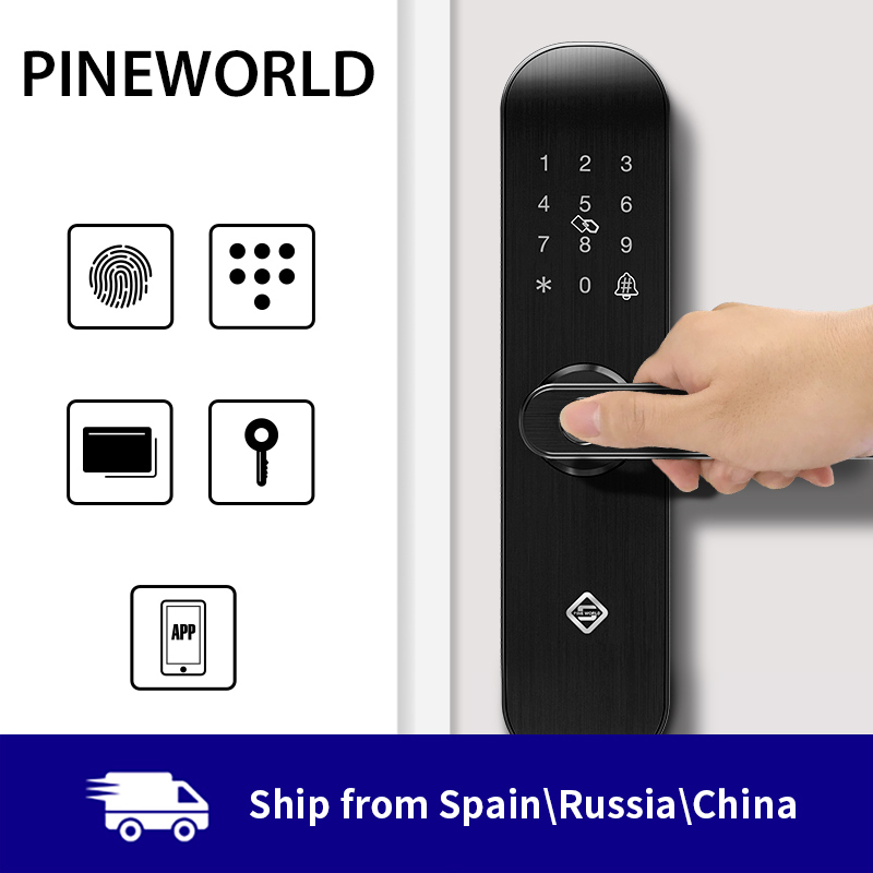 PINEWORLD Biométrico de impressões digitais Bloqueio, Bloqueio Inteligente Com WiFi Senha de Segurança RFID APP, Destravamento Remoto Inteligente Bloqueio Eletrônico