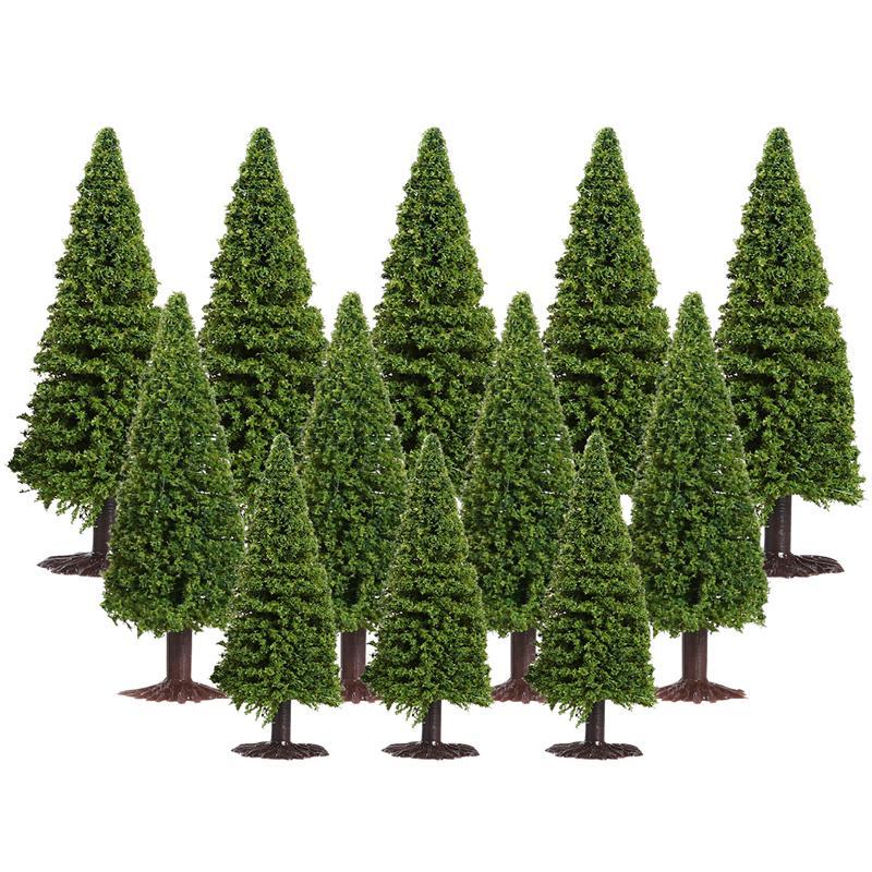 15 шт., зеленые Ландшафтные модели кедровых деревьев, модель зеленых деревьев для ландшафта
