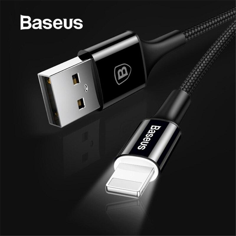 Baseus Cable cargador de iluminación LED para iPhone 7X8 Cable USB para iPhone iPad Cable de carga rápida Cable de datos de teléfono móvil Cable de desenganche de transmisión Cable de acelerador para Chrysler 727