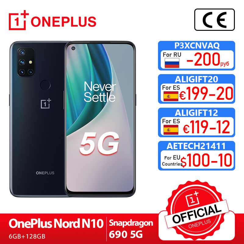 World Premiere Global Version OnePlus Nord N10 5G 6GB 128GB Snapdragon 690 Smartphone 90Hz Display 64MP Quad Cams Warp 30T NFC|Cellphones| - AliExpress