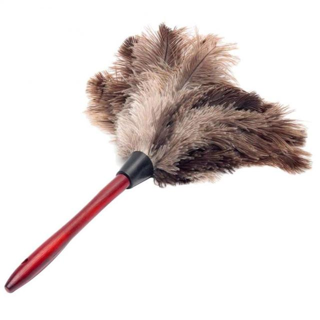Anti-static Ostrich Feather Fur Wooden Handle Brush Duster Dust Cleaning Tool Household Cleaning Tools Household Merchandises