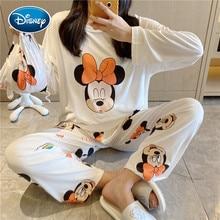 Pajamas Women Homewear-Set Daisy Long-Pants Spring Girl Disney Cute And Cartoon Bag Autumn