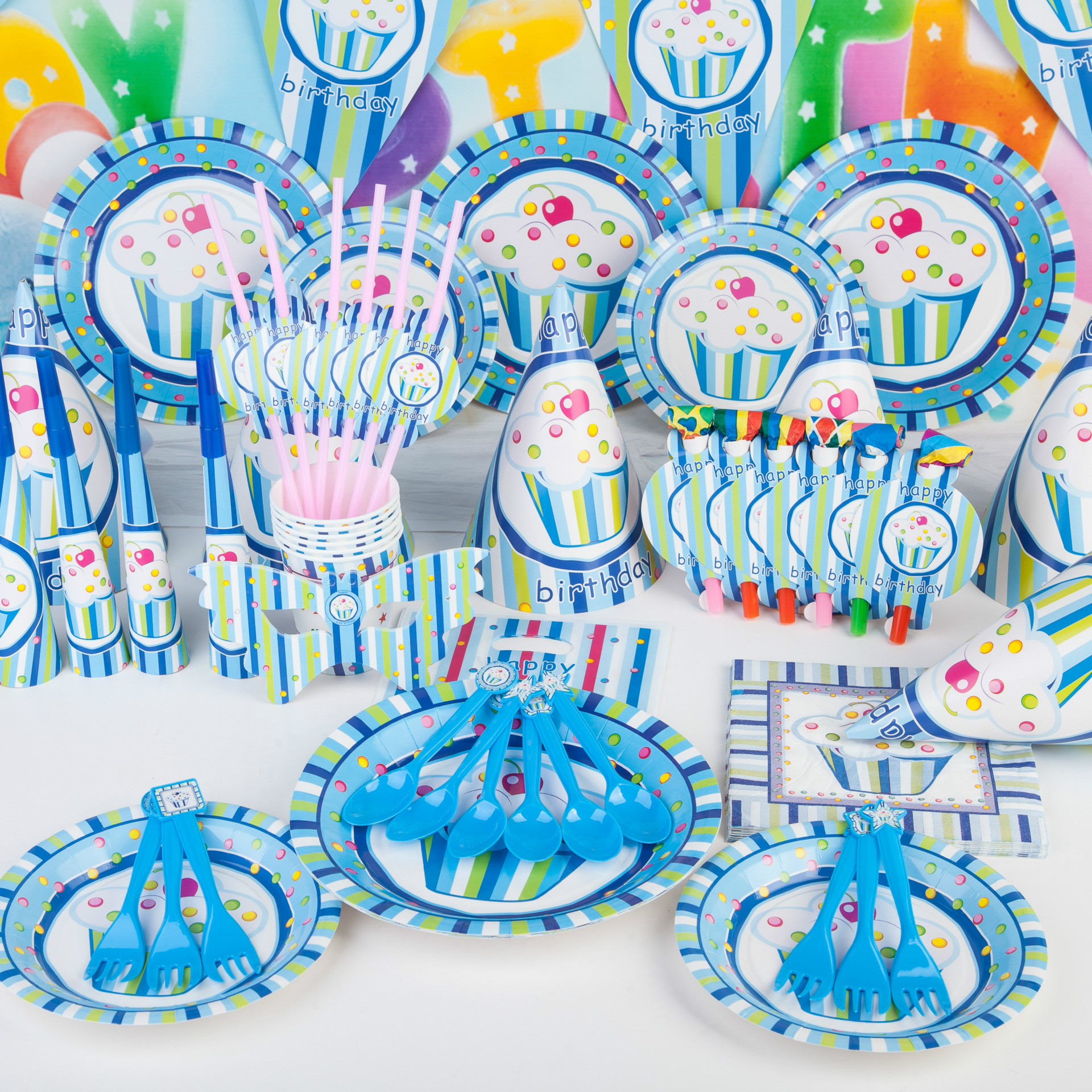 Baby Party Supplies Set 6 People Blue Ice Cream Theme Birthday Party Supplies Set Baby Gift Child Kids Boys Party Supplies Set