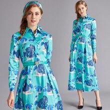 Banulin New 2019 Fashion Runway Designer Summer Slik Dress Womens Turn Down Neck Animal Print Blue Midi Vintage