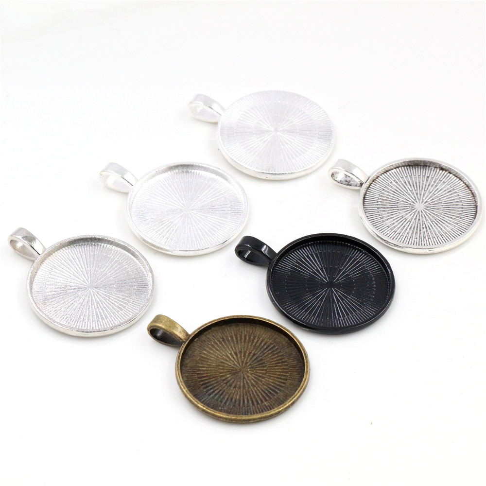 New Fashion 10pcs 25mm Inner Size 5 Colors Plated Classic Pattern Simple Style Cabochon Base Setting Charms Pendant