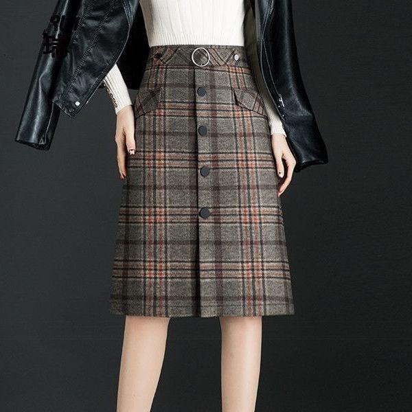 Women Wool Skirts Winter 2019 New Thicken Woolen Plaid Elegant A Line Chic Skirt High Waist Female Skirts Midi Skirt Faldas Saia