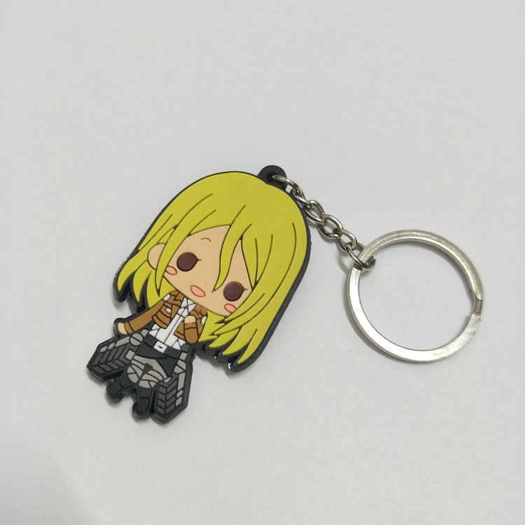 Anime figürü Titan anahtarlıklar 3D çift taraflı anahtar zincirleri PVC Titan çocuk oyuncak anahtarlıklar biblo
