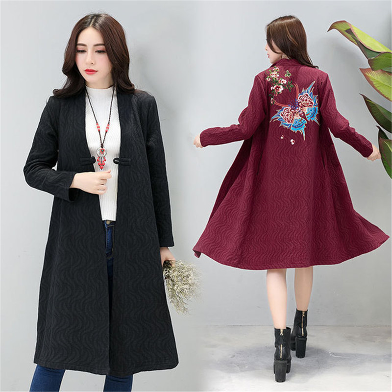 2019 New Fashion Cotton Linen Long   Trench   Coats Spring Autumn Embroidered Cardigan Coat Women Vintage Loose Windbreaker Top N969