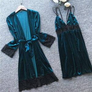Image 3 - 2019 Otoño Invierno mujer traje de terciopelo y vestido conjuntos dormir salón Pijama señoras Albornoz + vestido de noche con pecho almohadillas