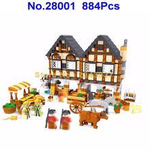 Ausini 28001 884 шт городской средневековый счастливый фермерский строительный блок 7 фигурок игрушки