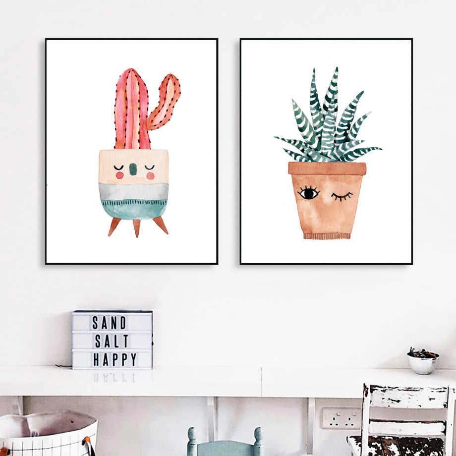 Cat Air Kartun Pot Kaktus Bunga Dinding Seni Lukisan Kanvas Nordic Poster dan Cetakan Dinding Gambar Anak-anak Dekorasi Rumah