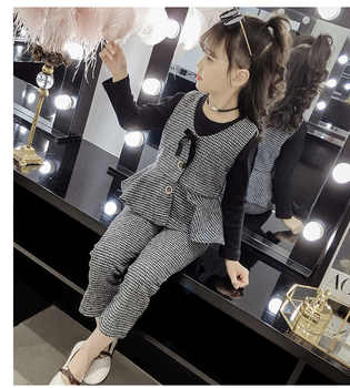 High quality baby girl autumn dress plaid vest three suit 2019 new pants long sleeve children's suit - DISCOUNT ITEM  30% OFF All Category