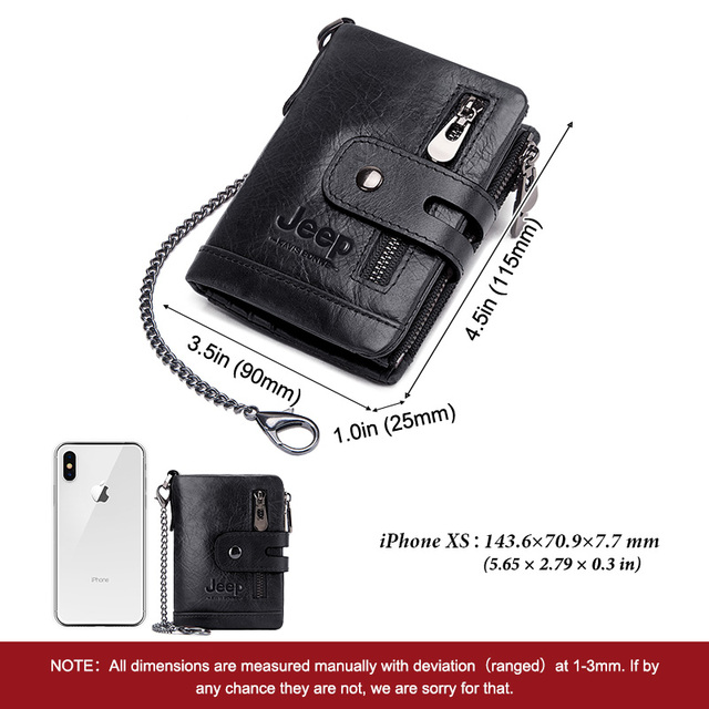 100% Cowhide Genuine Leather Men Wallet Coin Purse Small Mini Card Holder Chain PORTFOLIO Portomonee Male Walet Pocket Chain 3