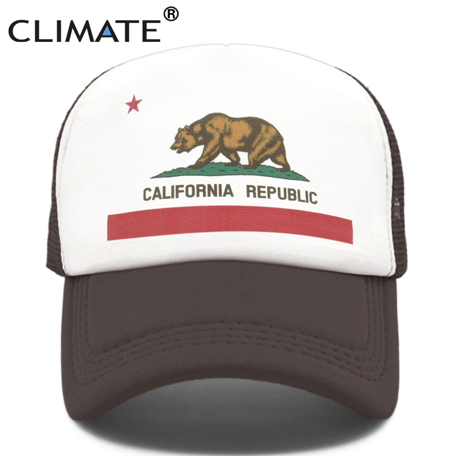 CLIMATE California Trucker Cap Men Bear California Republic Flag Caps  Women Funny Hip Hop Hat Baseball Cap Cool Summer Mesh Cap