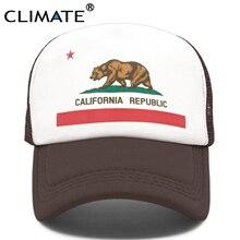 CLIMATE California Trucker Cap Men Bear Republic Flag Caps  Women Funny Hip Hop Hat Baseball Cool Summer Mesh