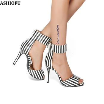 ASHIOFU Handmade Ladies High Heel Sandals Zebra-strips Party Prom Summer Shoes Large Size Fashion Evening Sandals Shoes