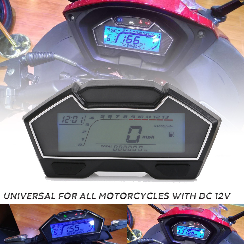 Universal LCD Motorcycle Racing Street Bike Speedometer Odometer RPM Speed Fuel Gauge 199 Kph Mph DIY Speedometer image