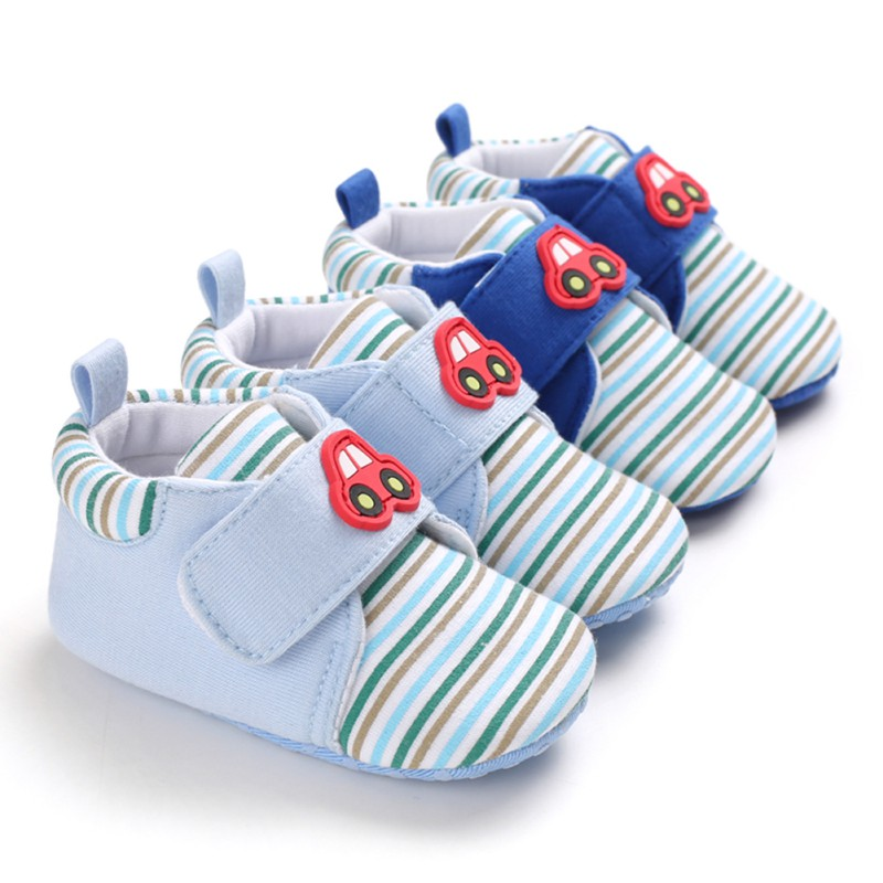 Cartoon Stripe Baby Shoes Winter Infant Shoes Baby Girls Boys Warm Casual Sneakers Anti-Slip Toddler Soft Soled First Walkers