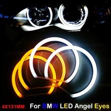 Car-styling Dual color WHITE Yellow 4X131MM LED Halo Rings Cotton Light For BMW E36 E38 E39 E46 M3 LED SMD Angel Eyes Lamp цена 2017