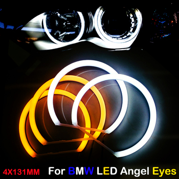 цена на Car-styling Dual color WHITE Yellow 4X131MM LED Halo Rings Cotton Light For BMW E36 E38 E39 E46 M3 LED SMD Angel Eyes Lamp