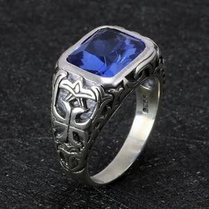 Image 3 - Echt Reine 925 Sterling Silber Ringe Für Männer Blau Natürlichen Kristall Stein Herren Ring Vintage Hohl Eingraviert Blume Edlen Schmuck