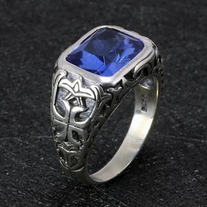 Image 3 - Real Pure 925 Sterling Silver Rings For Men Blue Natural Crystal Stone Mens Ring Vintage Hollow Engraved Flower Fine Jewelry