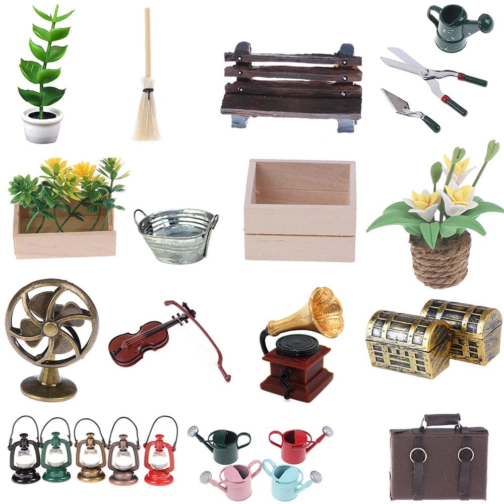 Watering Can Scissors Shovel Fan Wooden Chair Flower In Pot Kerosene Lamp Violin Bathtub 1:12 Dollhouse Decoration Accessories
