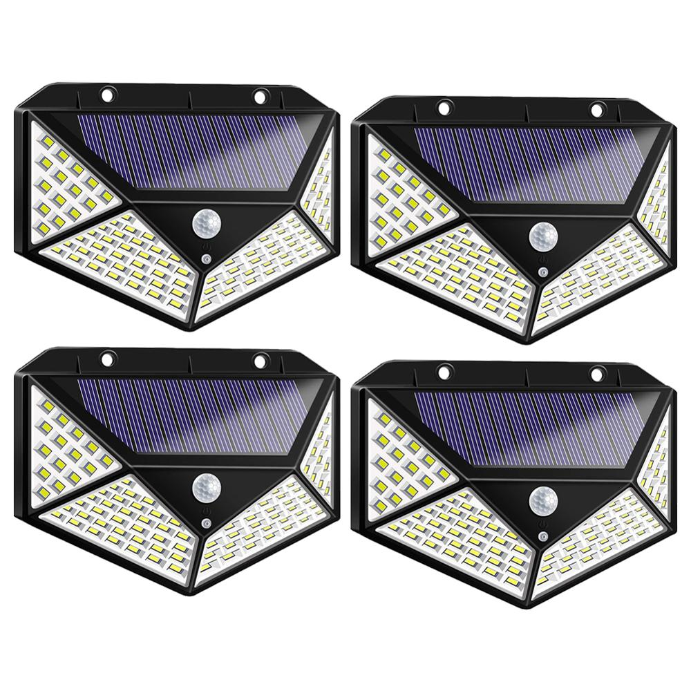 100/ 114LED 4-Sided Solar PowerLight 3 Modes 120 Degree Angle Motion Sensor Solar Wall Lamp Outdoor Waterproof Garden Yard Lamps
