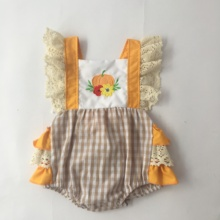 Puresun Bodysuit Baby Girl Clothes Halloween Orange Pumpkin Embroidery Outfit Baby Girl Clothes newborn bodysuits цены онлайн